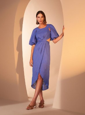 Vestido Costas Cruzadas Azul M - TUFI DUEK