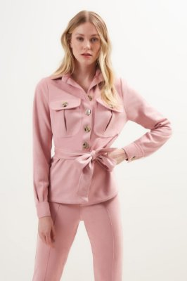 Camisa Camurça com Bolsos Rose -LITT