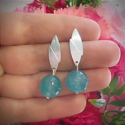 Brinco Folheado - Pedra Jade Azul