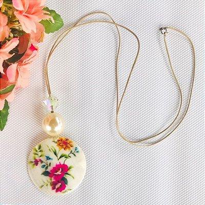 Colar Longo - Madrepérola Floral