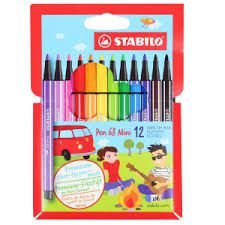 Kit Canetas Mini Stabilo Pen 68  Estojo c/12
