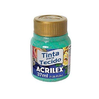 Tinta Tecido Glitter Azul Turquesa 37ml