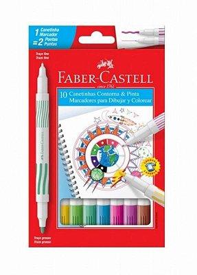 Canetinha Hidrografica Contorna e Pinta 10 Cores - Faber-Castell