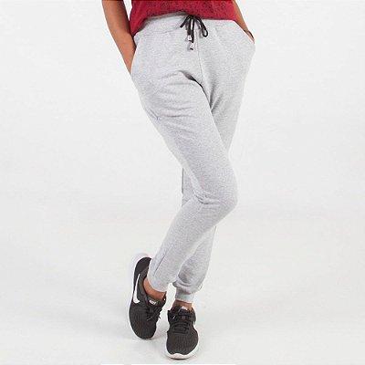 Calça Moletom Feminina Com Punho e Sem Pelúcia (Poliéster e Algodão) - Caixa com 10 Peças