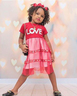 Vestido Infantil Love maravilhoso tecido canelado 😍