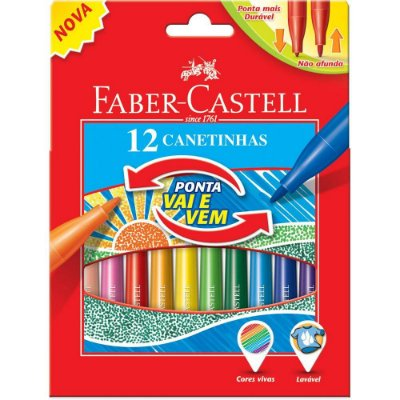 Caneta Faber Castell Vai e Vem 12 Cores