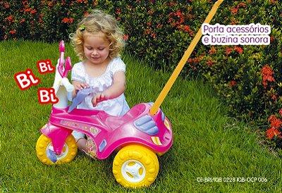 Triciclo Infantil Fofy Rosa - C/ Haste e Buzina
