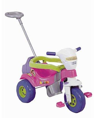 Triciclo Tico Tico Bichos Rosa C/ aro protetor e haste