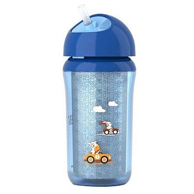 Copo Insulado Infanitl Térmico Com Canudo Azul 260ml - Avent