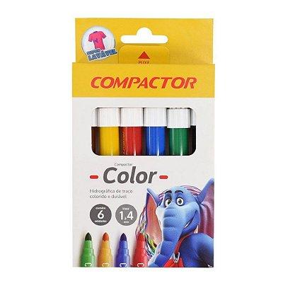 Canetinha Hidrográfica 6 Cores Compactor Color Jumbo 1-4mm