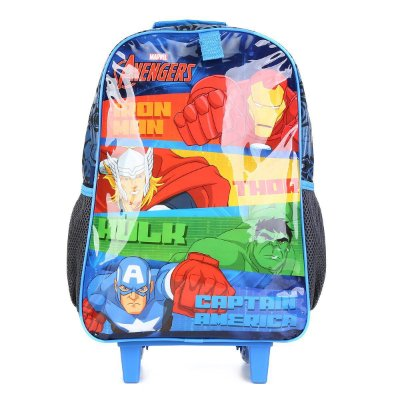 Mochila Escolar DMW Marvel Avengers Com Rodinhas - Azul e Preto