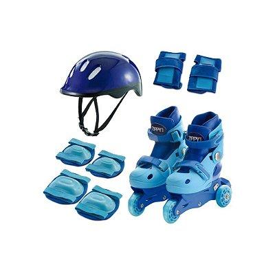 Kit Patins Triline c/ Proteções Azul Zippy 30-33