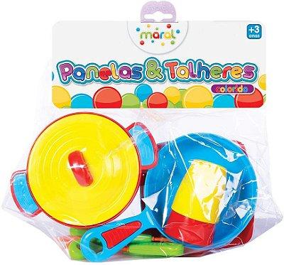 Brinquedo Kit Panela E Talheres Colorido Maral 1027