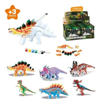 Dinossauro Dino Paint Com Tinta e Pincel Zoop Toys