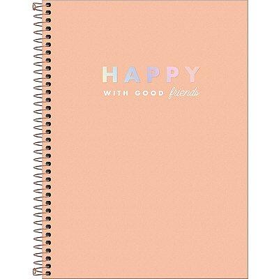 Caderno Espiral Capa Dura Universitário 12 Matérias Happy 192 Folhas - Sortido