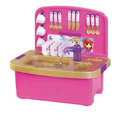 Brinquedo Pia de Louças Infantil Com Acessórios e Sai Água