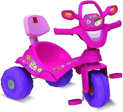 Triciclo Tonkinha Rosa Passeio Pedal Haste Removível Bandeirante