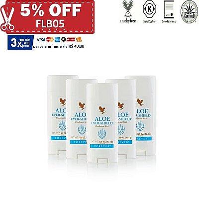 Aloe Ever-Shield Deodorant, Desodorante de Aloe Vera, não contém Sais de Alumínio, 5 unidades