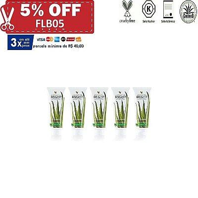 Forever Bright Toothgel, Creme pasta gel dental de Aloe Vera com Mentol e Própolis, sem Flúor, 5 unidades