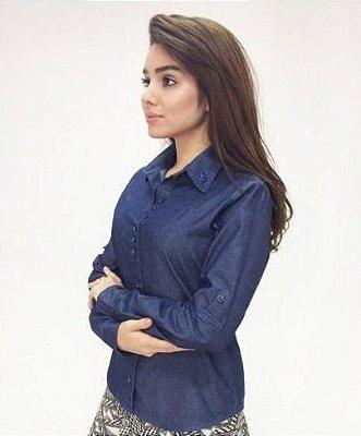 170018 - Camisa Jeans com Bordado Industrial - Via Tolentino