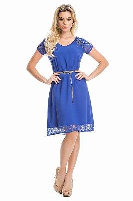 VT50717 - Vestido Detalhe Renda Azul - Via Tolentino