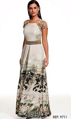 9711-Vestido Print Bordado- Fasciniu's