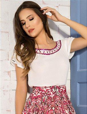 CR13151 - Blusa Bordado Combinado - Clara Rosa