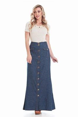 PK1359 - Saia Jeans Longa com Botões Frontais