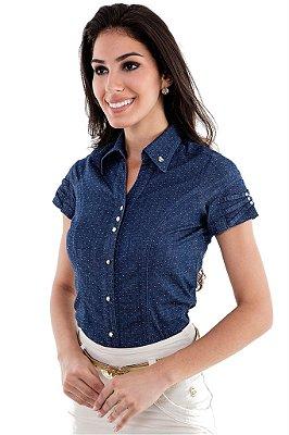 VT170023 - Camisa Poa Detalhe Jeans - Via Tolentino