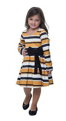 VK56005 - Vestido Listrado Infantil - Via Karuso
