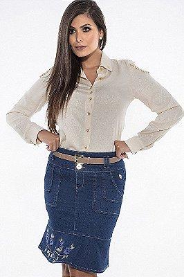 102553-Saia Jeans com Bordado na Barra-Via Tolentino