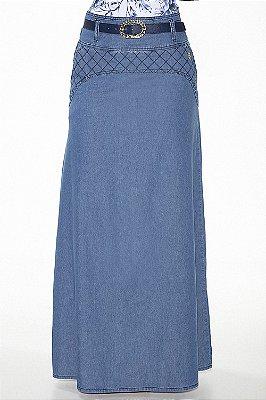 VT102507 -Saia Longa Jeans com Detalhe Matelasse Via Tolentino