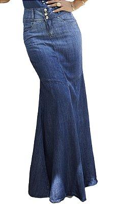 DR4379 - Saia Jeans Longa Moda Evangélica