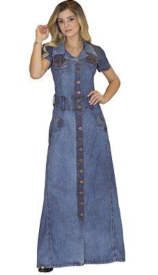 DJV311 - Vestido Jeans Longo Pluz Size Moda Evangélica