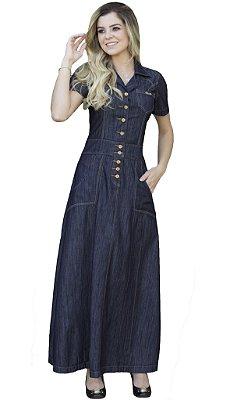 DJV310 - Vestidos Jeans Longo Preto Moda Evangélica