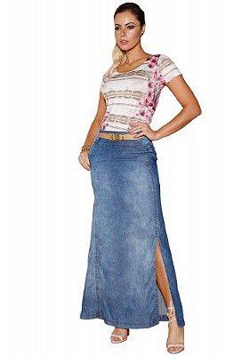 VT102685-Saia Jeans Longa com Fenda- Via Tolentino