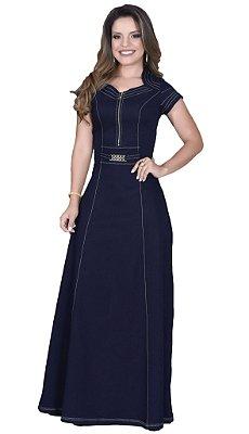 Vestido Detalhe Zíper Frontal Moda Evangélica ST10640