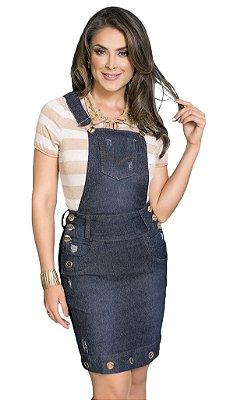 Jardineira Jeans com Ilhos Moda Evangélica RW4219