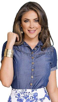 Camisa Jeans Franzida Moda Evangélica - RW4243