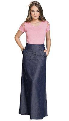 Saia Jeans Longa Moda Evangélica RW4189