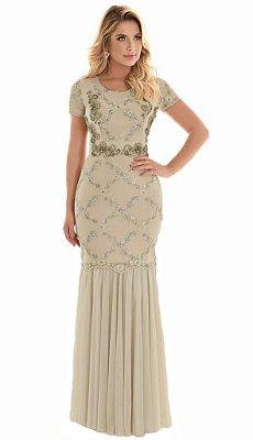 Vestido Lady Tule Bordado Moda Evangélica FC10600