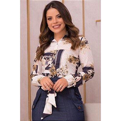 89f9ca2726 Camisa Feminina Estampada com Gola Dupla Via Tolentino Moda Evangélica