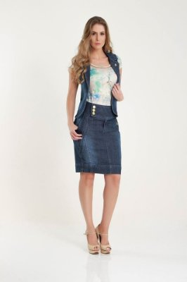 121006 -Look Colete e saia  jeans-Bela Evangélica