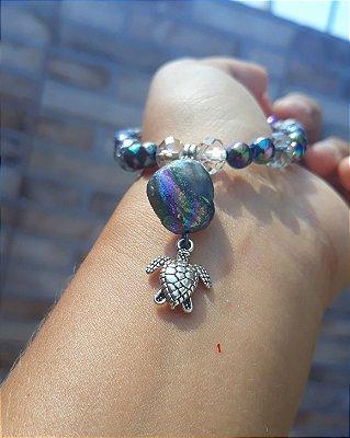Pulseira Praiana Tartaruga com Pedra