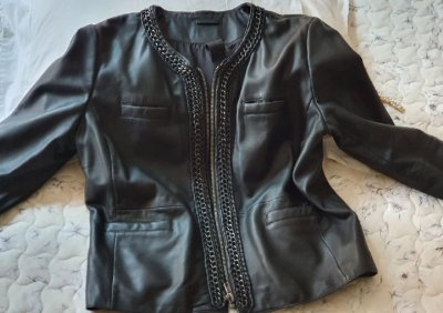 Jaqueta de couro black animale