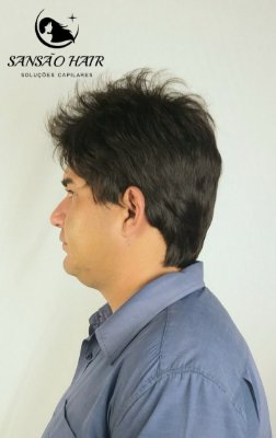 Peruca  Cabelo Sintético Mauricio Idêntico Humano Castanho Escuro