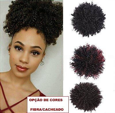 Coque Encaracolado Afro Cabelo Sintético Com Cordão