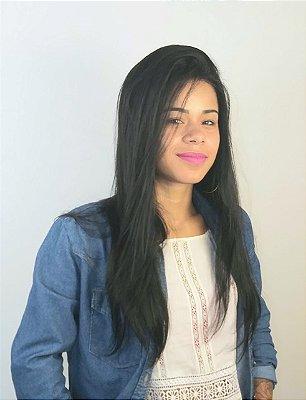 Peruca Daniela Front Lace de Cabelos Humanos 60cm Lisa Preta