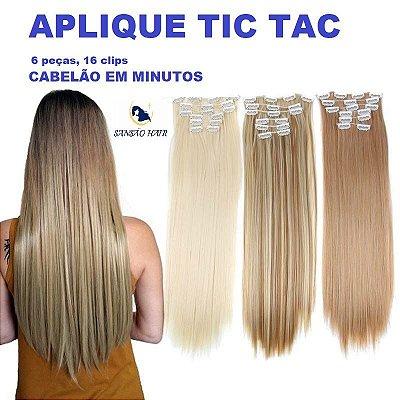 Aplique tic tac 6 peças Sansão Hair