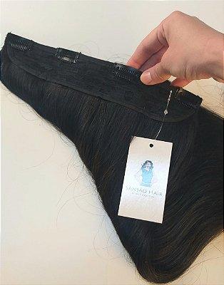 Aplique Tic Tac 60cm Castanho Cabelo Humano 100g Sansao Hair